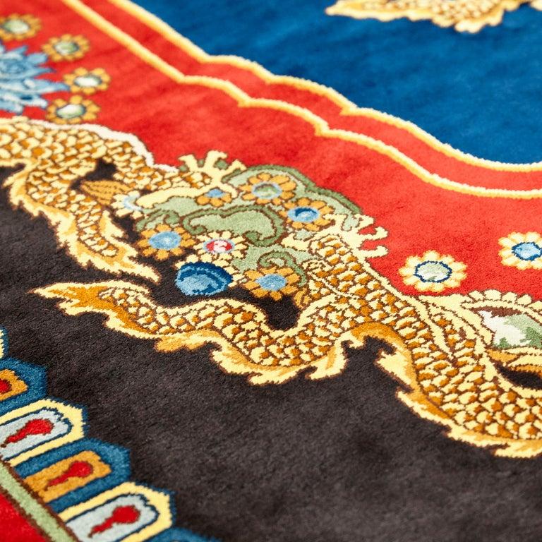 Chinese Export Gianni Versace Collection Rug Mandarin's Garden Silk, circa 1980 For Sale