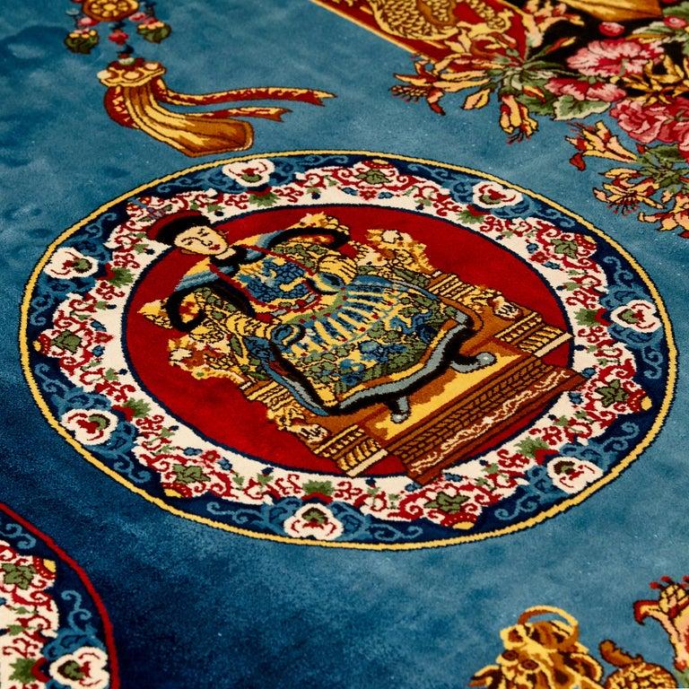 Italian Gianni Versace Collection Rug Mandarin's Garden Silk, circa 1980 For Sale