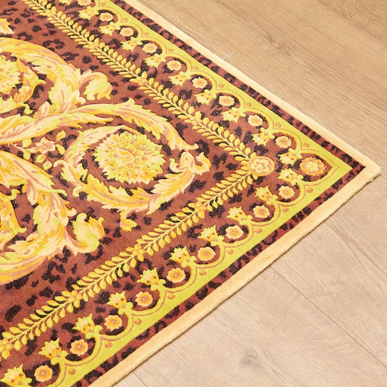 Gianni Versace Collection Rug Wild Barocco, Gold Leopard Animal Print, 1980 For Sale 2