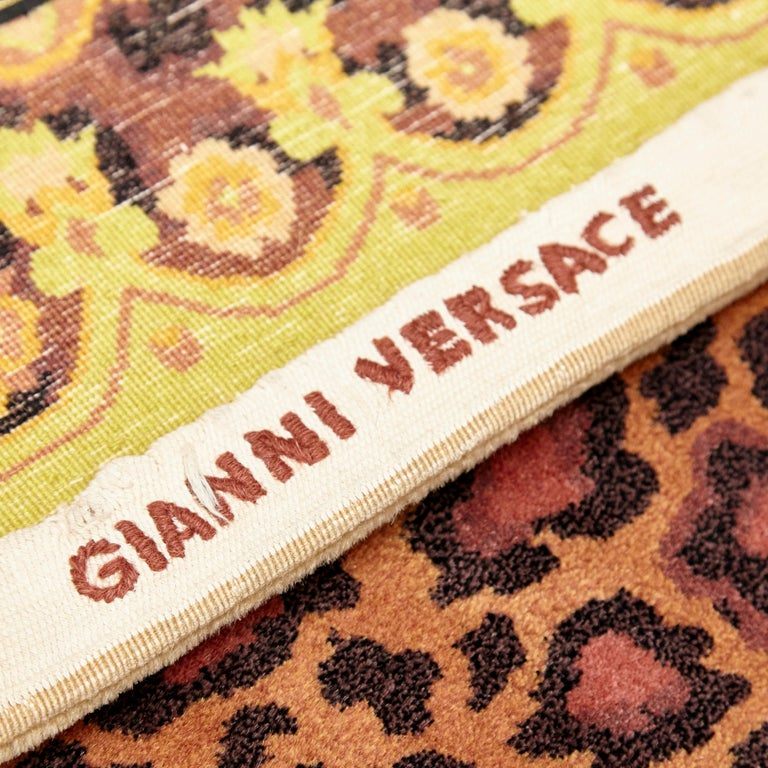 Gianni Versace Collection Rug Wild Barocco, Gold Leopard Animal Print, 1980 For Sale 3