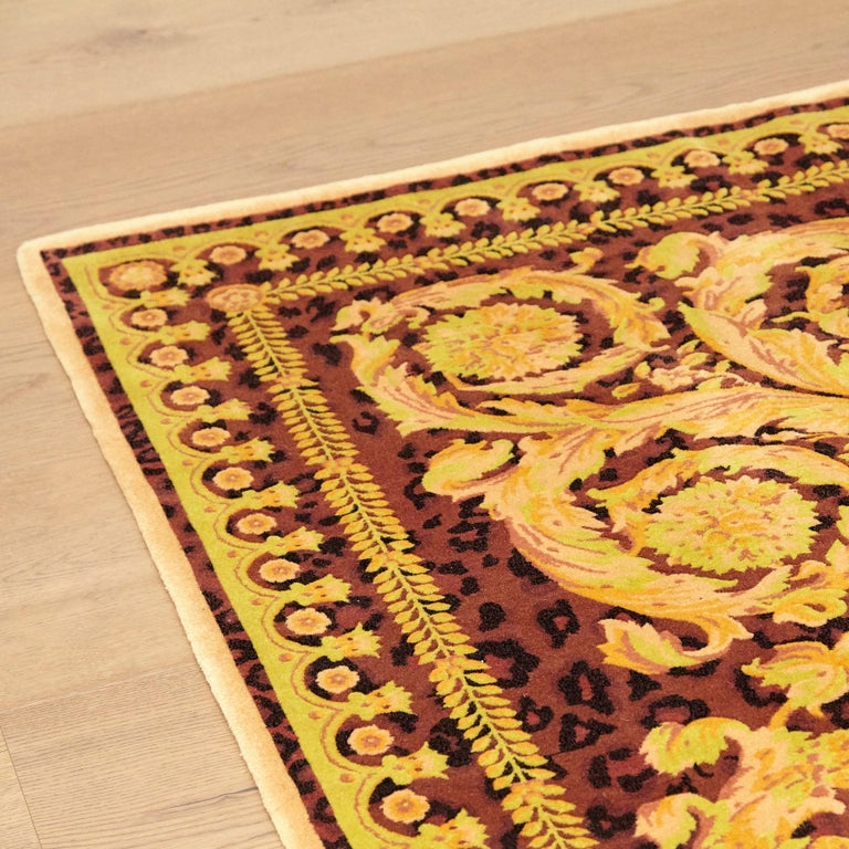 Gianni Versace Collection Rug Wild Barocco, Gold Leopard Animal Print, 1980 For Sale 5