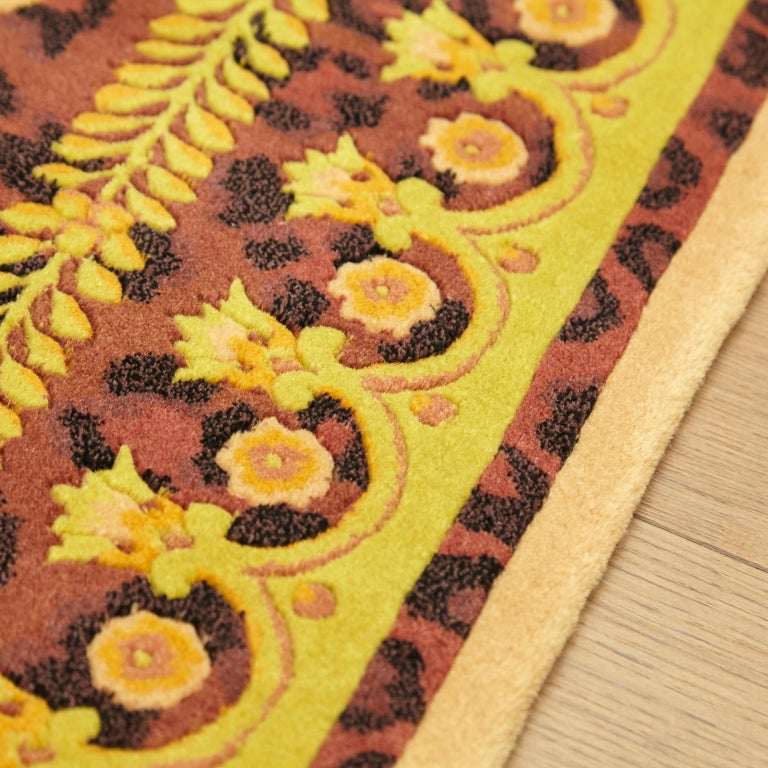 Gianni Versace Collection Rug Wild Barocco, Gold Leopard Animal Print, 1980 For Sale 9