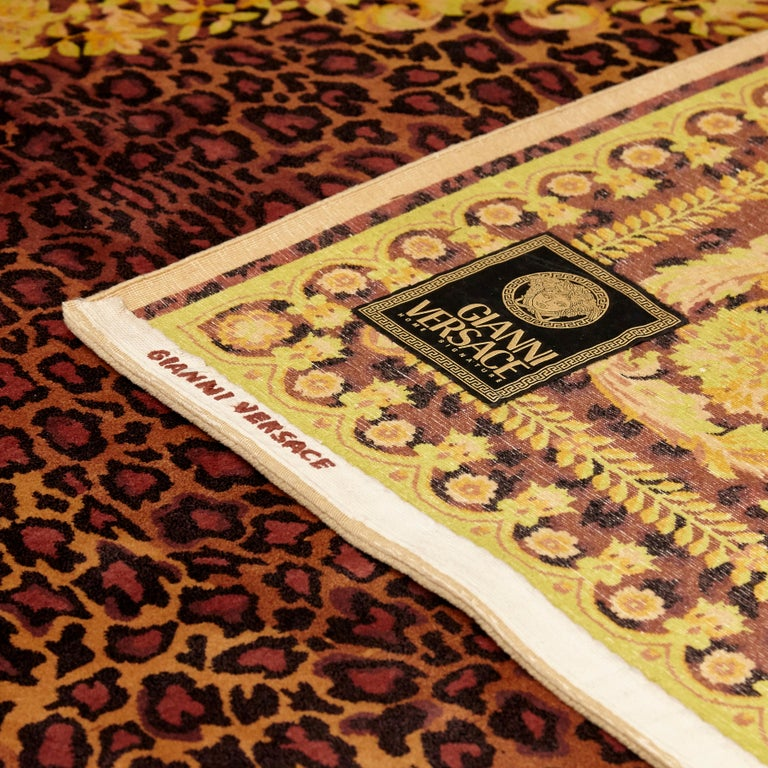 Gianni Versace Collection Rug Wild Barocco, Gold Leopard Animal Print, 1980 For Sale 10