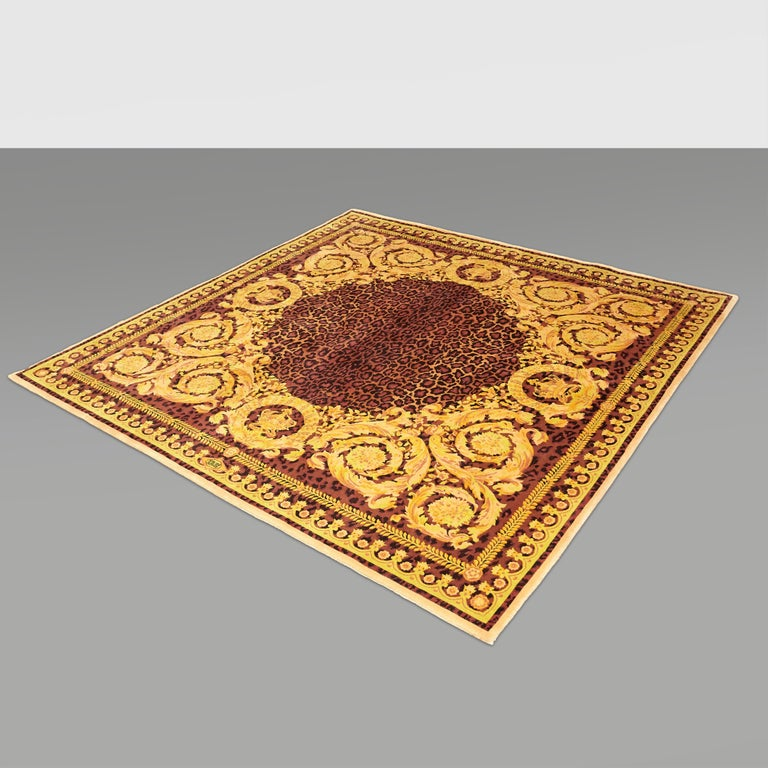 Gianni Versace Collection Rug Wild Barocco, Gold Leopard Animal Print, 1980 For Sale 12