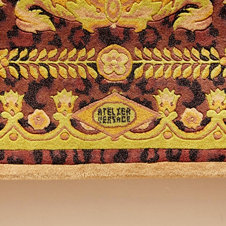 Baroque Gianni Versace Collection Rug Wild Barocco, Gold Leopard Animal Print, 1980 For Sale