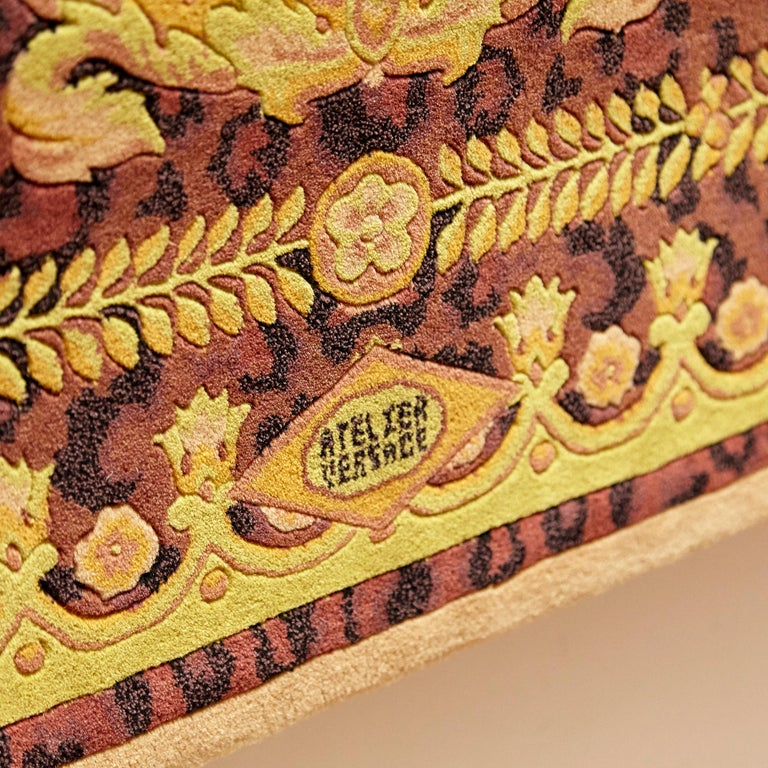 Chinese Gianni Versace Collection Rug Wild Barocco, Gold Leopard Animal Print, 1980 For Sale