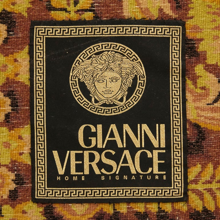 Hand-Knotted Gianni Versace Collection Rug Wild Barocco, Gold Leopard Animal Print, 1980 For Sale