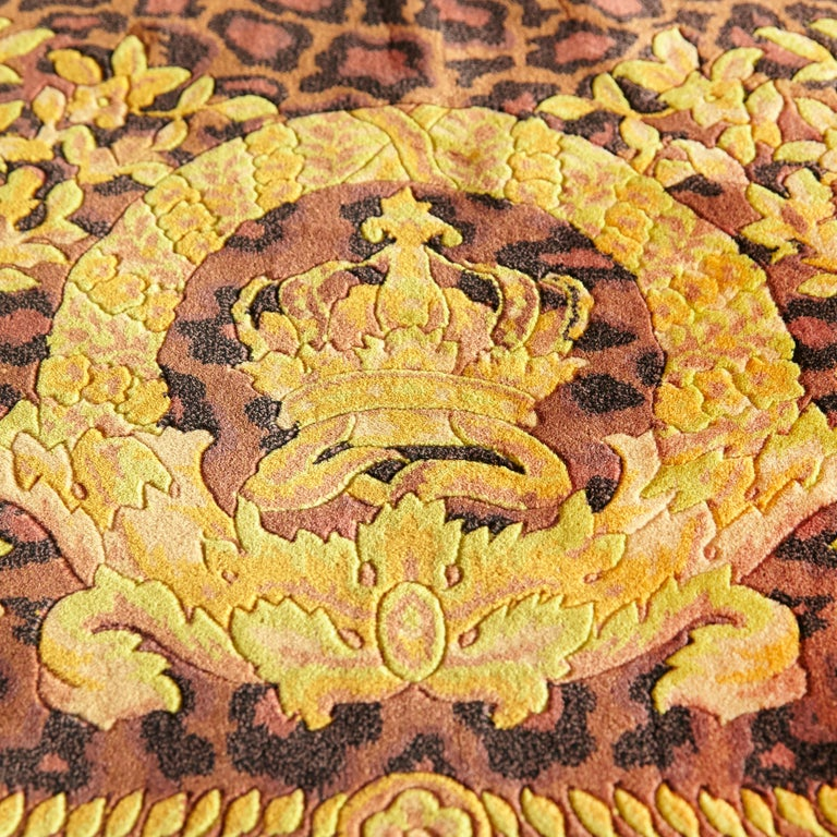 Late 20th Century Gianni Versace Collection Rug Wild Barocco, Gold Leopard Animal Print, 1980 For Sale