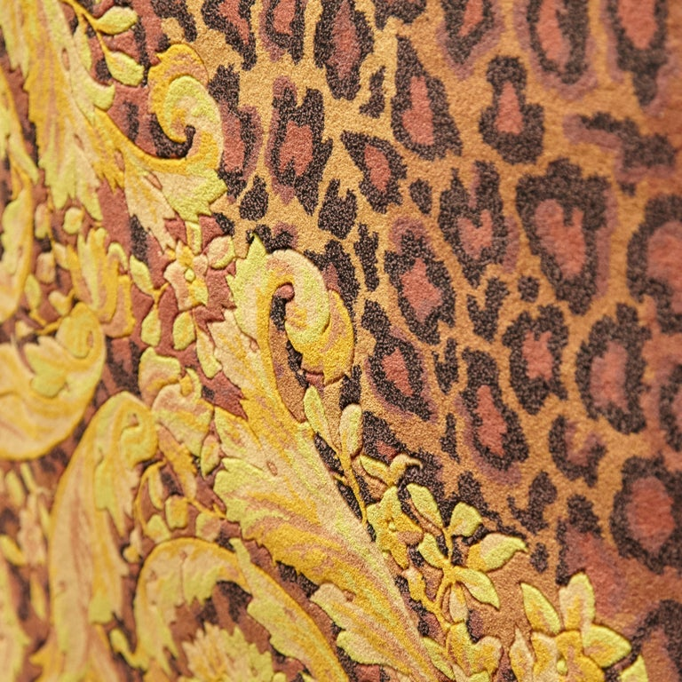 Wool Gianni Versace Collection Rug Wild Barocco, Gold Leopard Animal Print, 1980 For Sale