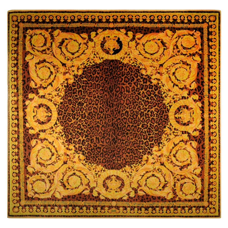 Gianni Versace Collection Rug Wild Barocco, Gold Leopard Animal Print, 1980 For Sale