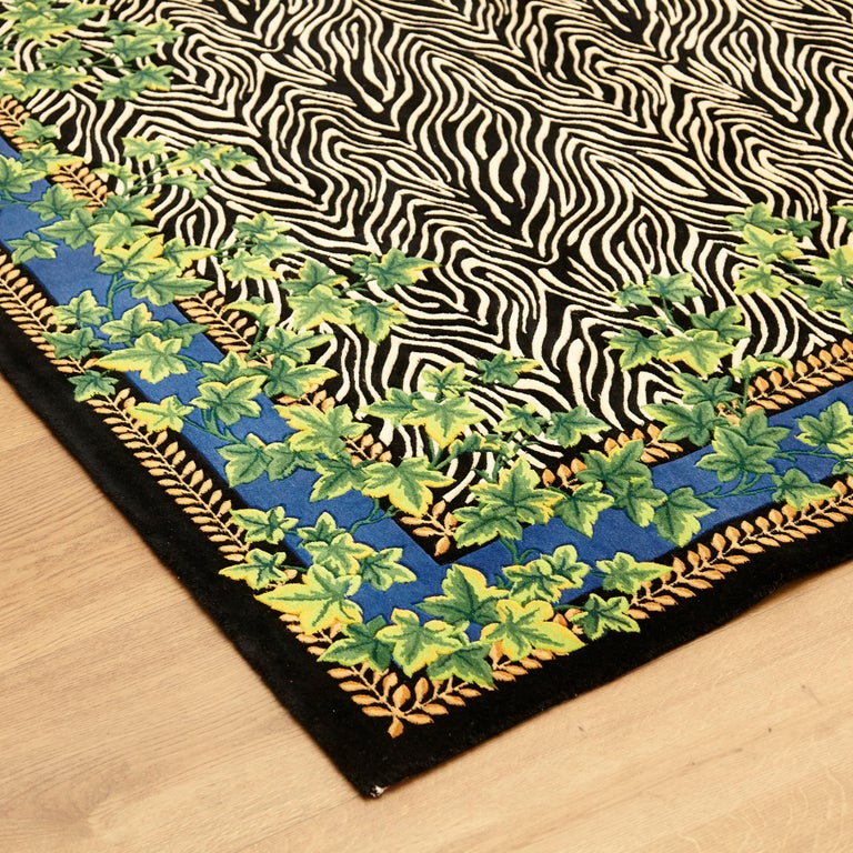 Gianni Versace Collection Rug Wild Ivy, Gold Zebra Animal Print, 1980 For Sale 5