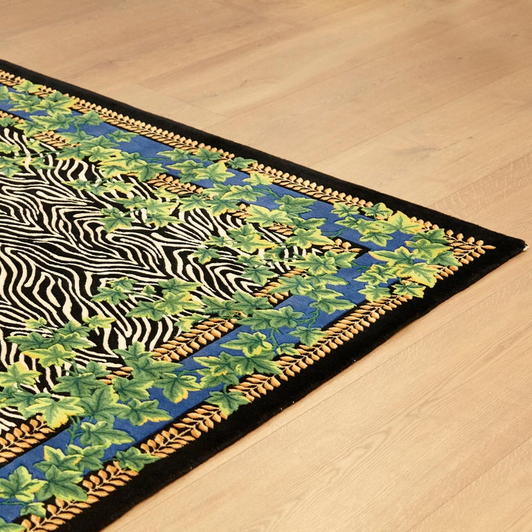 Gianni Versace Collection Rug Wild Ivy, Gold Zebra Animal Print, 1980 For Sale 7