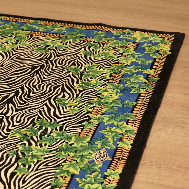Gianni Versace Collection Rug Wild Ivy, Gold Zebra Animal Print, 1980 For Sale 10