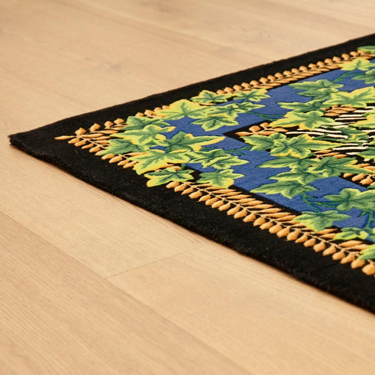 Gianni Versace Collection Rug Wild Ivy, Gold Zebra Animal Print, 1980 For Sale 11