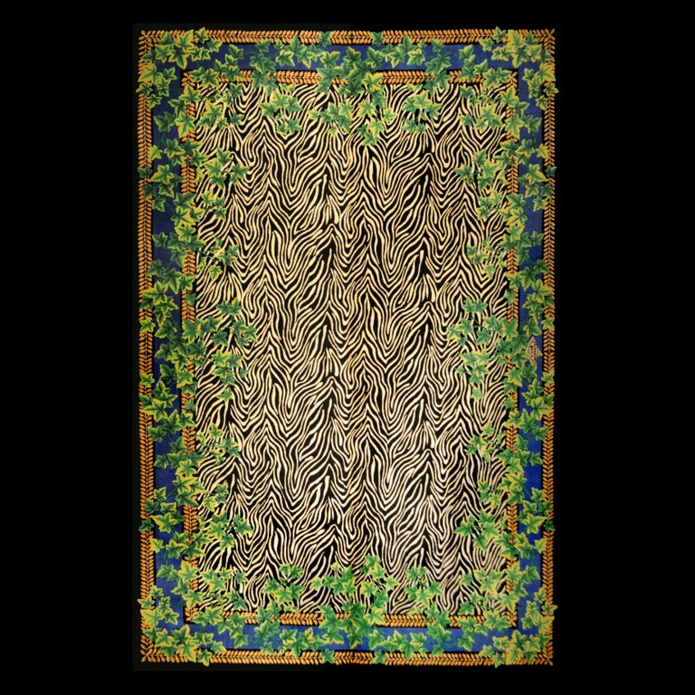 Rug made in China designed and manufactured by Atelier Versace  Wild Ivy rug Measures: 200 x 300  In good original condition, with minor wear consistent with age and use  A vintage Gianni Versace home signature wool rug. Baroque gold tones,
