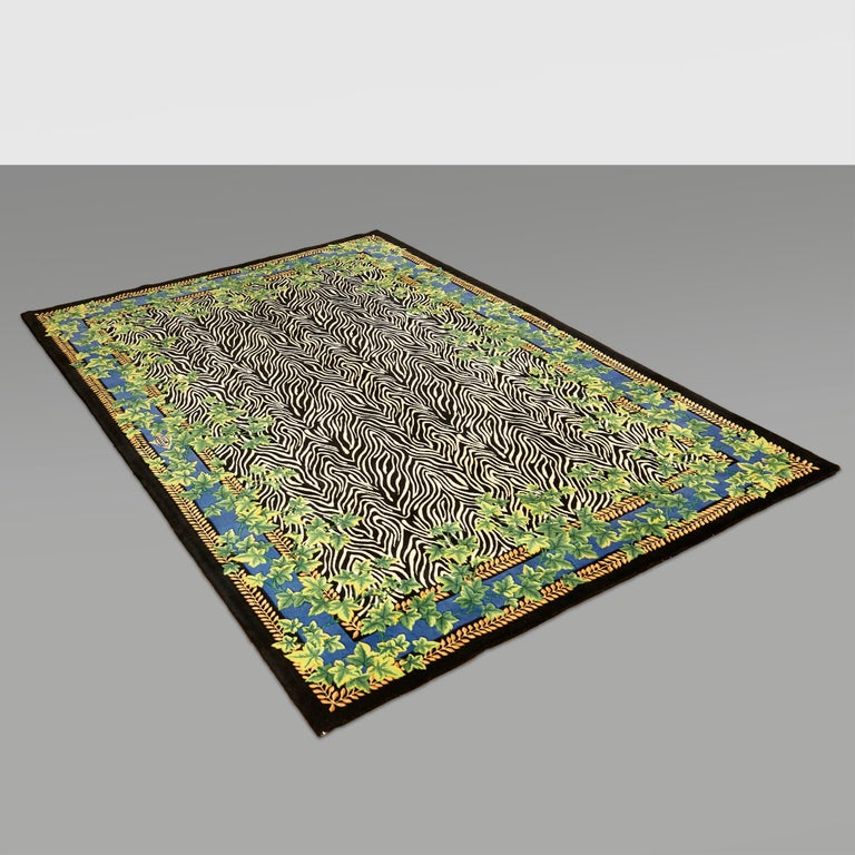 Gianni Versace Collection Rug Wild Ivy, Gold Zebra Animal Print, 1980 For Sale 1