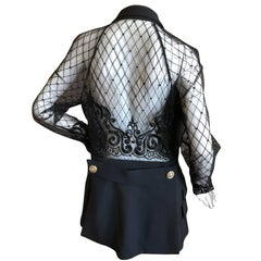 Gianni Versace Couture 1980's Black Tux Jacket Sheer Baroque Lace Back & Sleeves