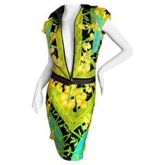 Gianni Versace Couture 1980's Tropical Color Greek Key Pattern Silk Skirt Suit