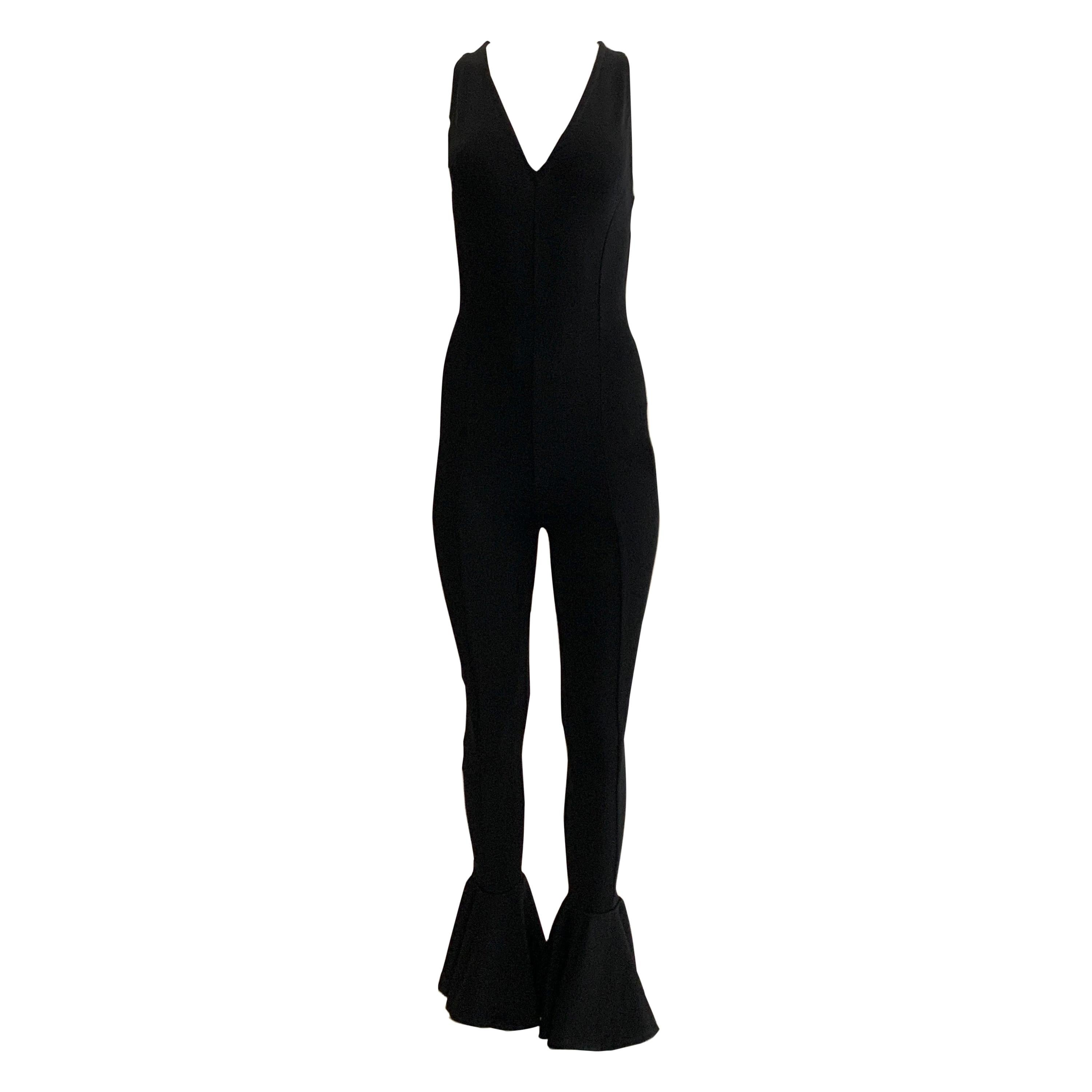Gianni Versace Couture 1993 Runway Black Knit Flare Ankle Jumpsuit