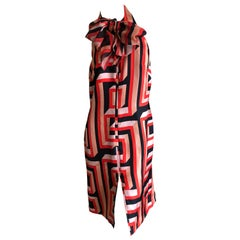 Gianni Versace Couture 80's Silk Greek Key Pattern Dress with Pussy Bow New Tags