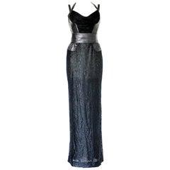 Gianni Versace Couture Black Lace Leather Bondage Gown Maxi Dress