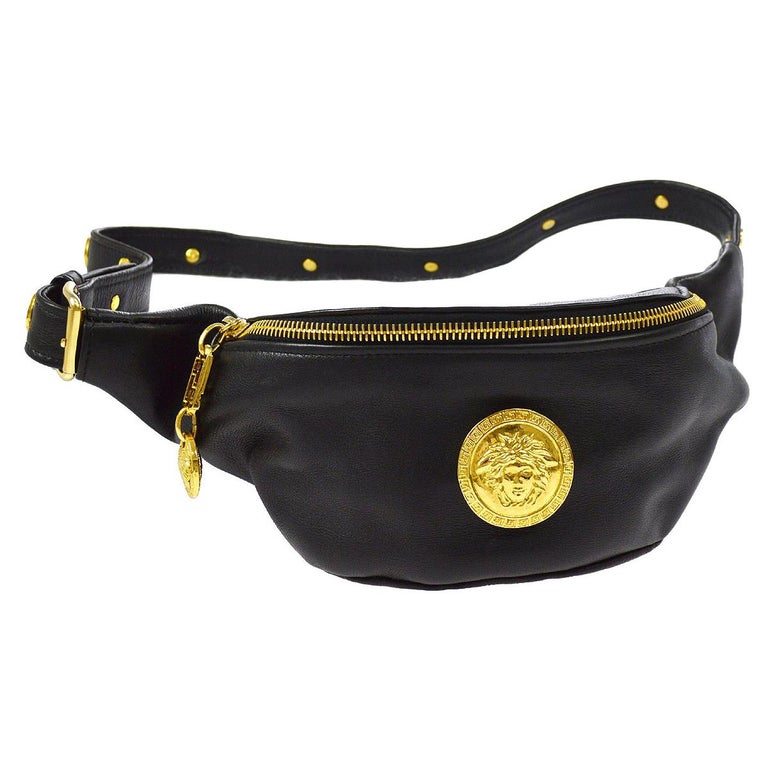 7492bea365a Gianni Versace Couture Black Leather Gold Charm Fanny Pack Waist Belt Bag