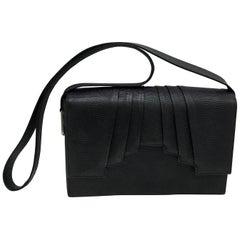 Gianni Versace Couture Black Leather Vintage Shoulder Bag circa 1990