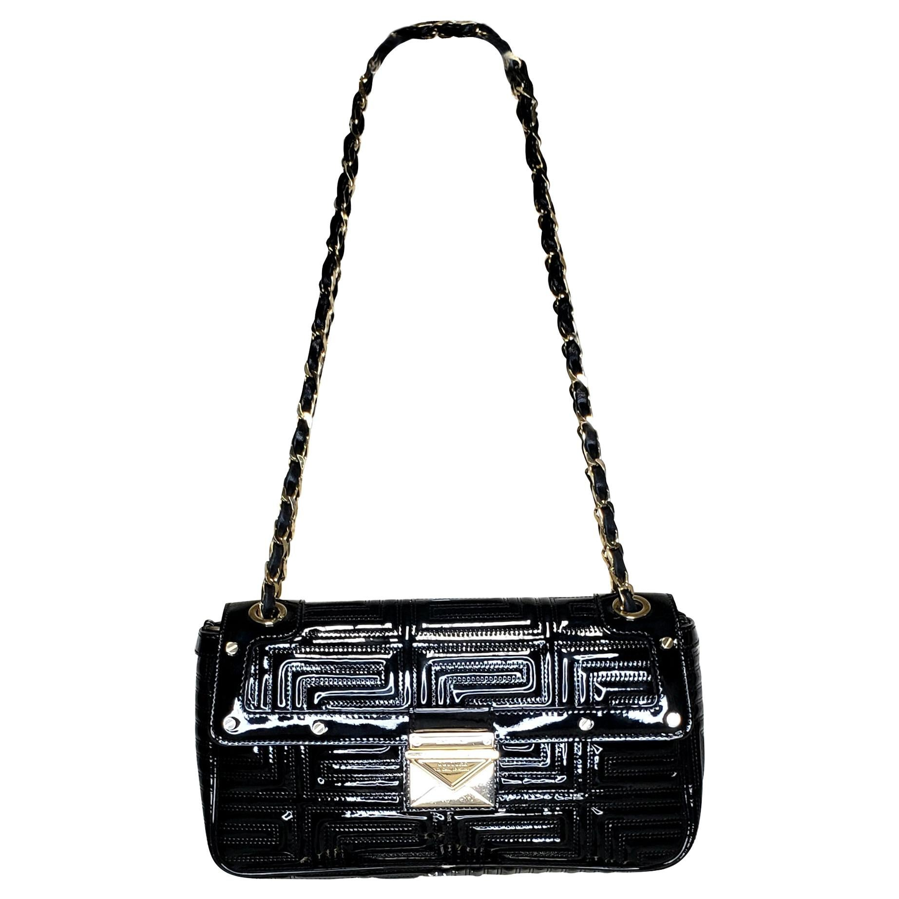 GIANNI VERSACE COUTURE BLACK PATENT QUILTED LEATHER SHOULDER Bag