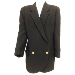 Gianni Versace Couture Black Ribbed Wool Over Size Jacket 1980s