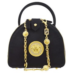 Gianni Versace Couture Black Satin Gold Charm Top Handle Satchel Shoulder Bag