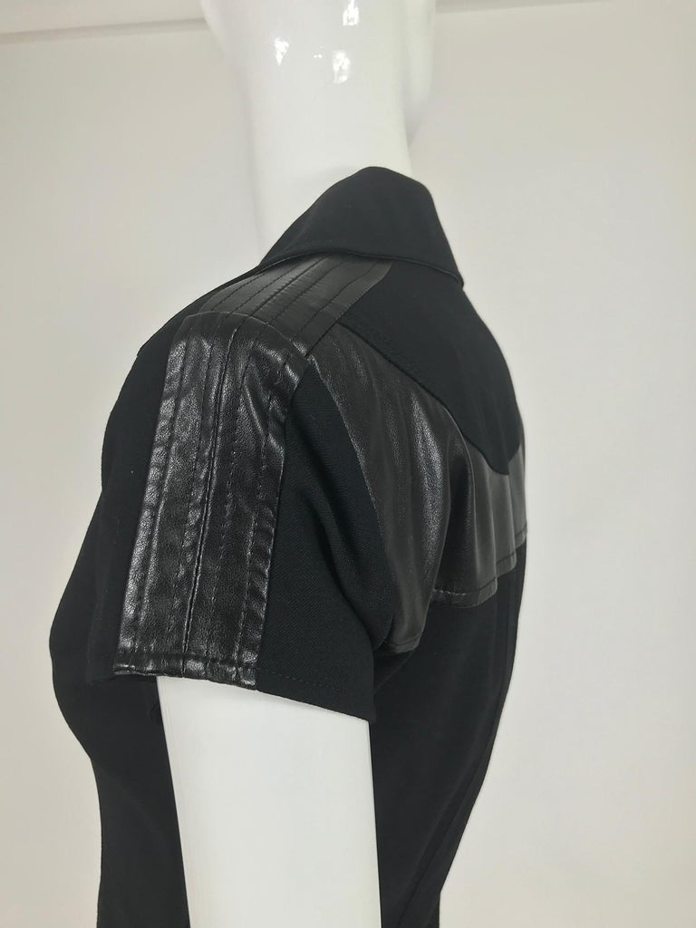 Gianni Versace Couture Black stretch and Vinyl Zipper Dress 1980s For Sale 7