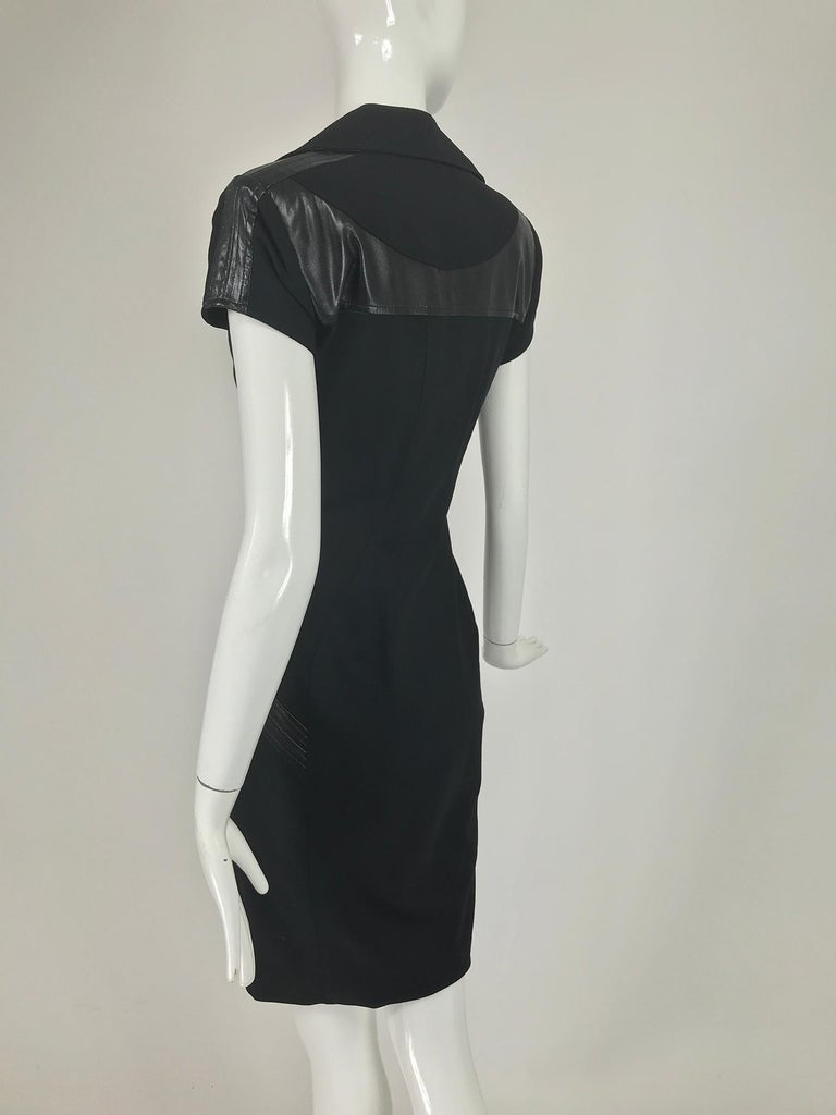 Women's Gianni Versace Couture Black stretch and Vinyl Zipper Dress 1980s For Sale