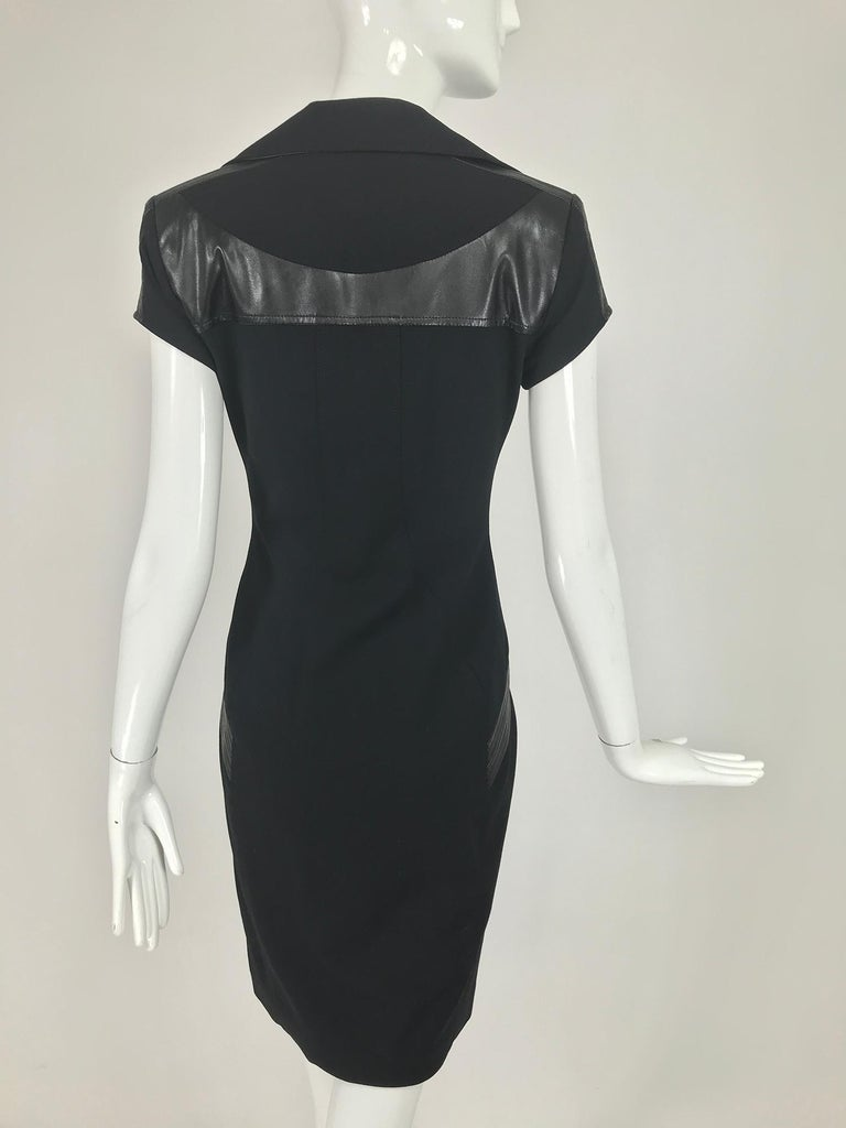 Gianni Versace Couture Black stretch and Vinyl Zipper Dress 1980s For Sale 1