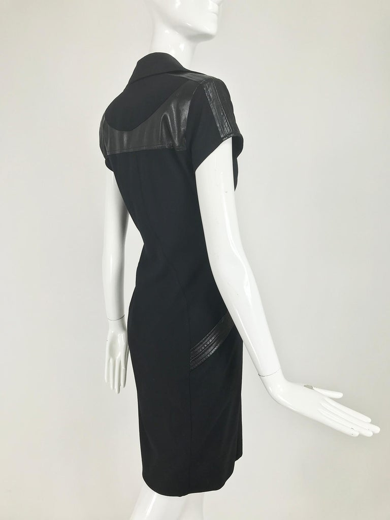 Gianni Versace Couture Black stretch and Vinyl Zipper Dress 1980s For Sale 2