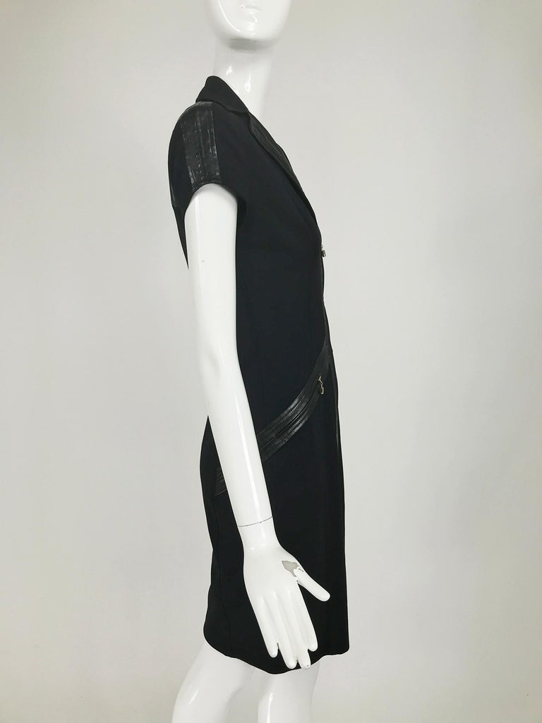 Gianni Versace Couture Black stretch and Vinyl Zipper Dress 1980s For Sale 3