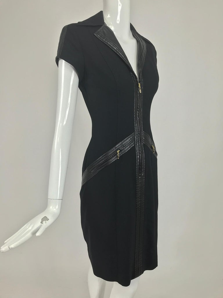 Gianni Versace Couture Black stretch and Vinyl Zipper Dress 1980s For Sale 4