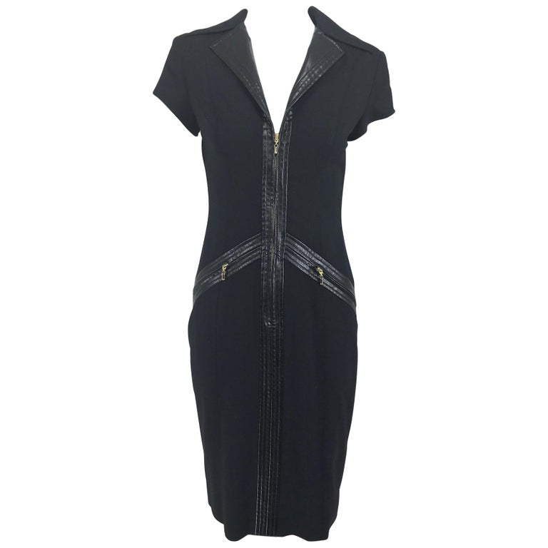 Gianni Versace Couture Black stretch and Vinyl Zipper Dress 1980s For Sale