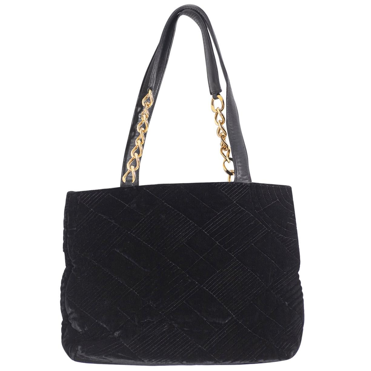 Gianni Versace Couture Black Velvet Tote Bag