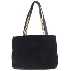 Gianni Versace Couture Black Velvet Tote Bag