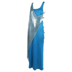 Gianni Versace Couture Blue Oroton Chainmail & Silk Gown w/Side Cutouts F/W 1994