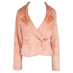 NEW Gianni Versace Couture Blush Pink Nude Fur Jacket Coat
