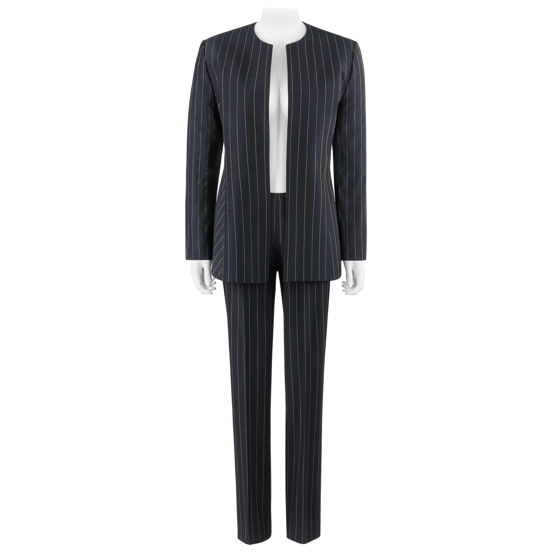 GIANNI VERSACE COUTURE c.1980's Navy Pinstripe Jacket Trouser Pant Suit Set