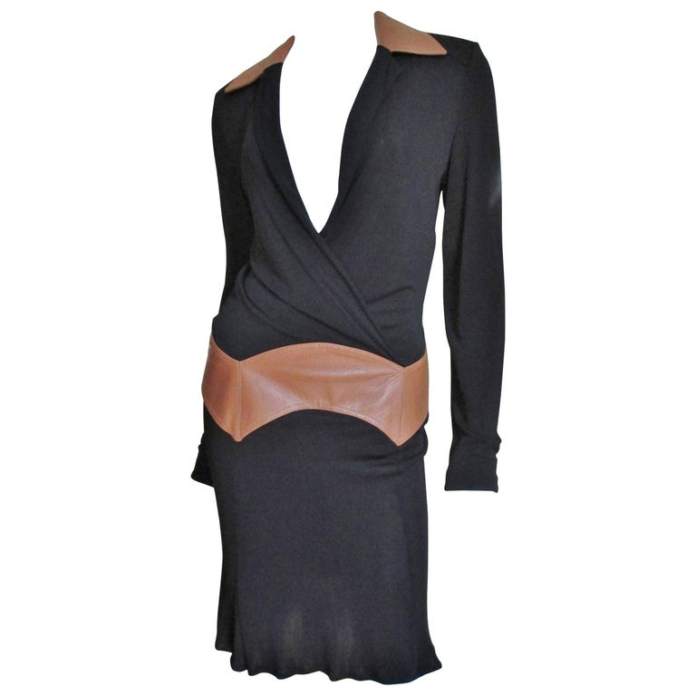 Gianni Versace Couture Dress with Leather Trim 1990s For Sale