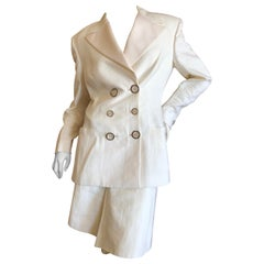 Gianni Versace Couture Fall 1992 Ivory Linen Tuxedo Suit w Corset Stay Details