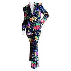 Gianni Versace Couture Fall 1992 Silk Floral Bell Bottom Pant Suit