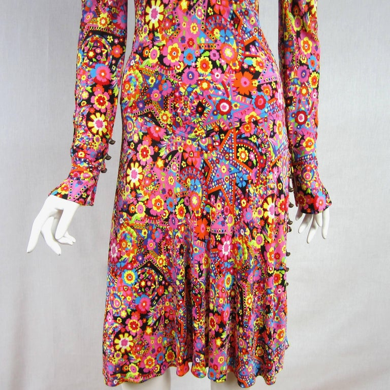 Gianni Versace Couture Floral Abstract Dress 2002 In Excellent Condition For Sale In Wallkill, NY