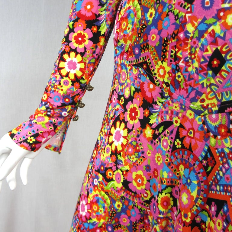 Women's Gianni Versace Couture Floral Abstract Dress 2002 For Sale
