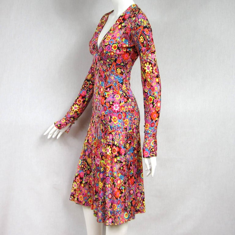 Gianni Versace Couture Floral Abstract Dress 2002 For Sale 2