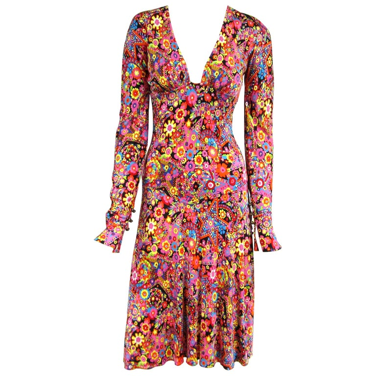Gianni Versace Couture Floral Abstract Dress 2002 For Sale