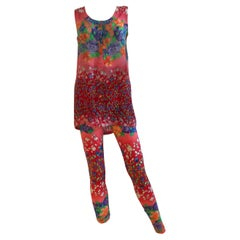 Gianni Versace Couture Floral Cotton Top and Lycra Legging Set